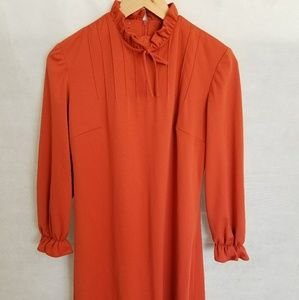Women's 1970s Mr Simon, Rusty Orange, Poly Dress